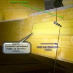 Крепление отвеса для проверки оси трубы