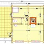 Этажный план бани 6-5 с террасой или верандой