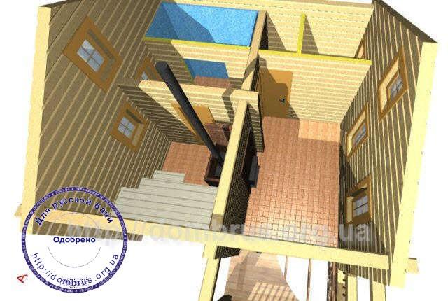 Вид разреза бани 6х7 без крыши