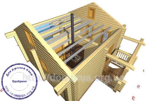 План балок перекрытия бани или сауны 6х7. Фото