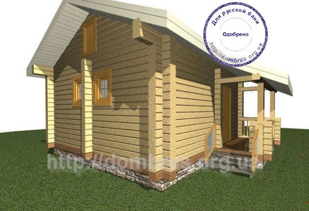 Фасад бани или сауны отдельностоящей размером 6х7