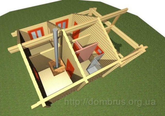 визуализация проекта деревянной бани из бруса размером 6м на 5м