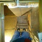 Проверка оси прохода дымохода через крышу бани