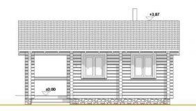 Фасад строительный бани из лафета или бруса 6-5 м