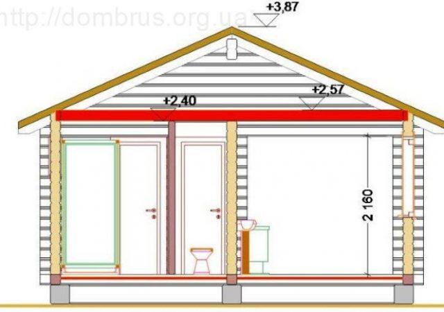Конструкционный строительный разрез  бани 6х5 с террасой