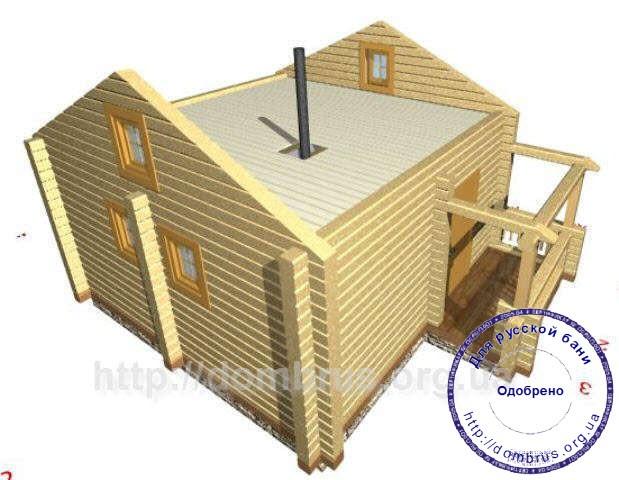 Потолок бани. 3D Эскиз без конструкции крыши