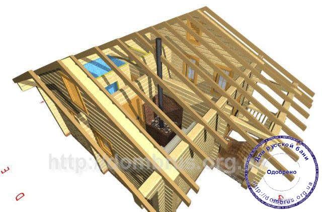 Конструкция крыши бани 6 на 7. Стропильная система